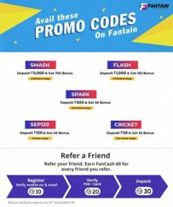 Fantain Fantasy Promo Codes & Promotional Offers