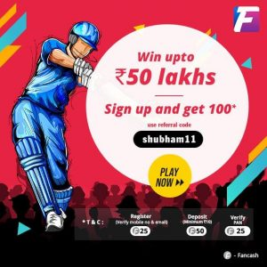 (Fantasy Cricket) Fantain Refer And Earn: Get Rs.100 On Sign up + Rs.100 Per Referral
