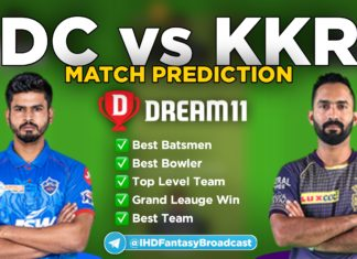 DC vs KKR Dream11 team prediction