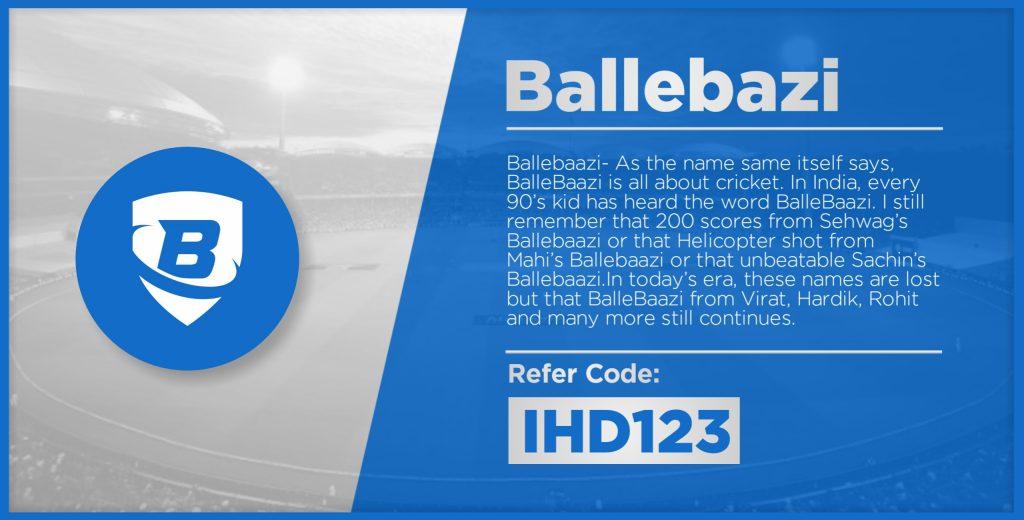 BalleBaazi - No 2 In Top Fantasy Cricket App List