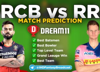 RCB vs RR Dream11 team prediction