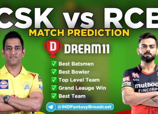 CSK vs RCB Dream11 team prediction