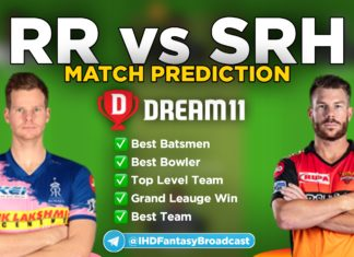 RR vs SRH dream11 team prediction