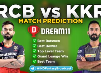 KKR vs RCB dream11 team prediction