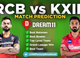 RCB vs KXIP Dream11 team prediction