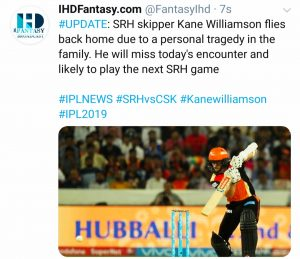 Kane Wiliamson News For IPL 2019