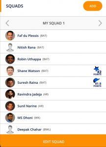 Kolkata vs Chennai Playerzpot Fantasy Team