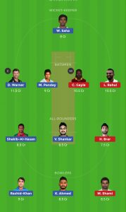 SRH vs KXIP Dream11 Team Prediction