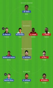 SRH vs KXIP Dream11 Grand League Teams