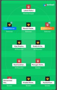 KXIP vs SRH Dotball Fantasy Team