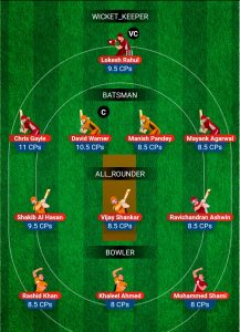 hyderabad vs Punjab My11Circle Fantasy Team