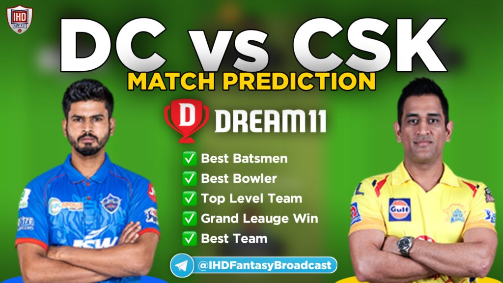 DC vs CSK Dream11 Team Prediction