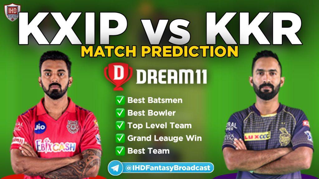 KXIP vs KKR Dream11 team prediction