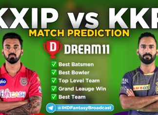 KXIP vs KKR Dream11 team prediction