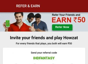 Howzat Referral Code, Refer & Earn Rs.50 Bonus