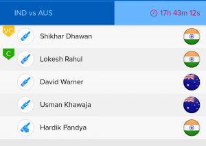 ICC WC Match 14 IND vs AUS Ballebaazi Batting team