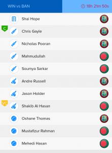 ICC WC Match 23nd WI vs BAN Ballebaazi Bowling team