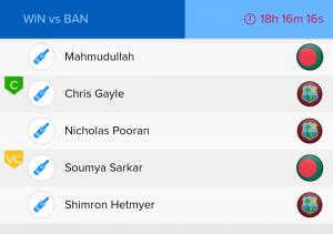 ICC WC Match 23nd WI vs BAN Ballebaazi Batting team