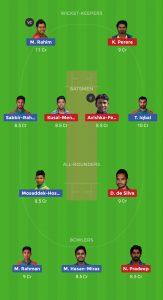 SL VS BAN Dream11 Team for small league