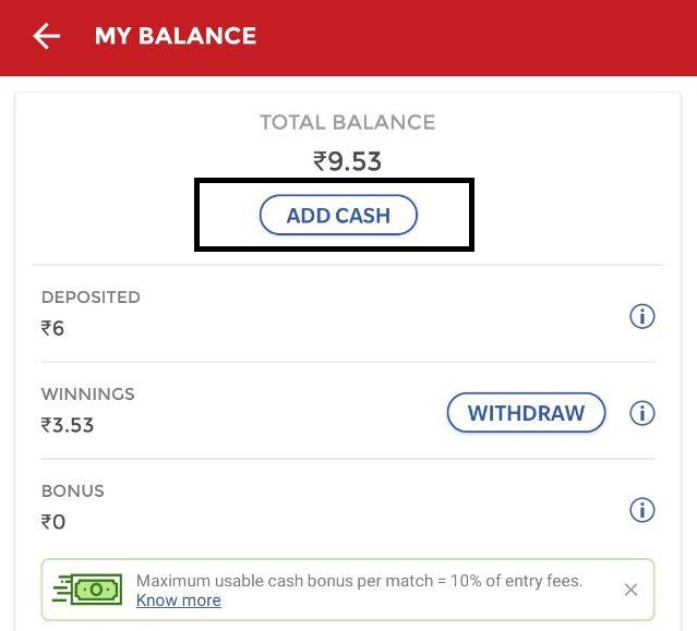 dream11 add money