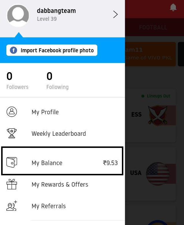 dream11 my balance
