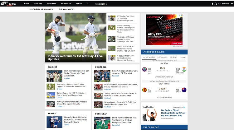 sports ndtv live scores site
