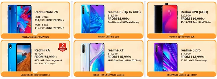 smartphone sale big billion day 2019