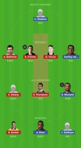 IRE vs UAE DREAM11 TEAM FOR Small League