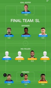 FINAL: BAR vs INT Myteam11 Fantasy Football Team (H2H)