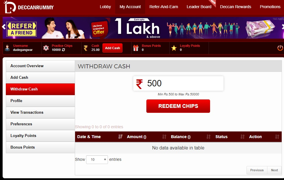 deccan rummy withdraw