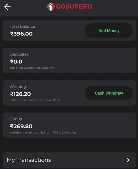 How To Withdraw Cash On GoSuper11?