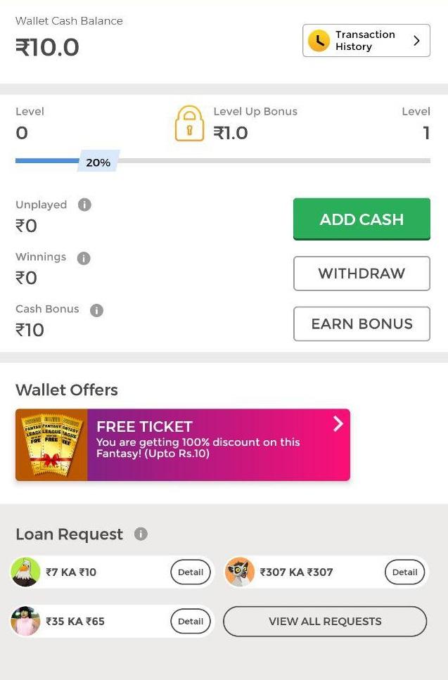 winzo app wallet