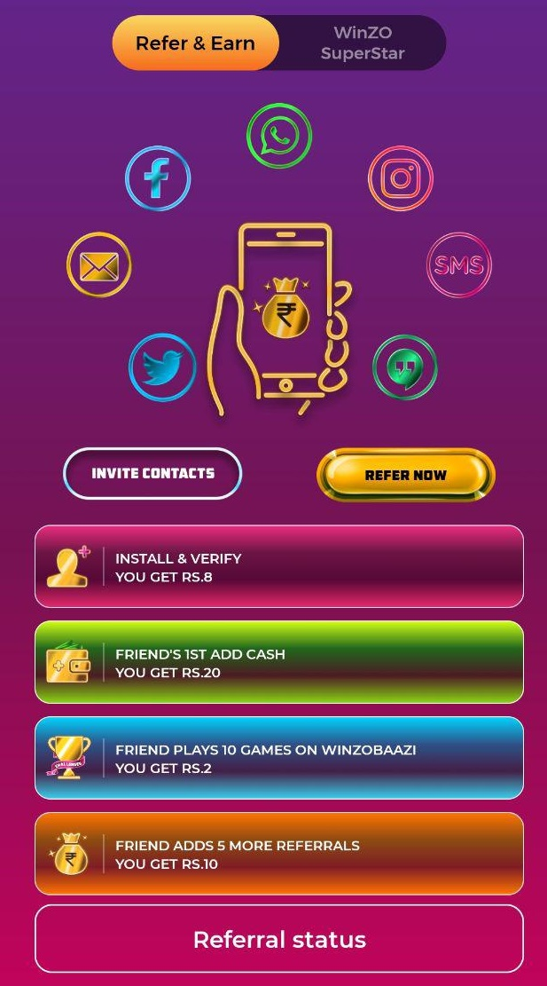 winzo refer and earn
