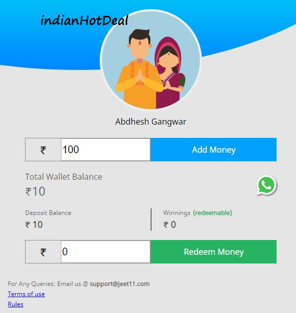 jeet11 fantasy add money