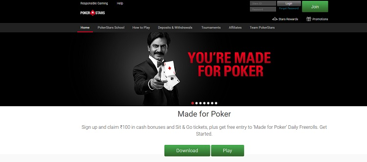 pokerstars website in india