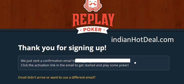 ReplayPoker signup email verification