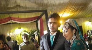 Fawad Alam and his wife on wedding day