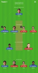 IN-W vs AU-W Dream11 Grand League Team