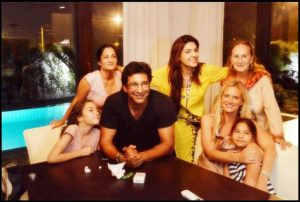 Wasim Akram with his family