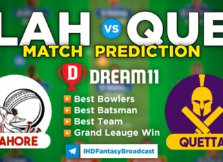 LAH vs QUE Dream11 Team Predictions 21st Match PSL 2020 (100% Winning Team)