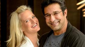Wasim Akram with his wife