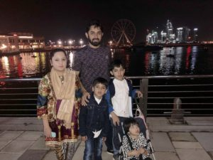 Saeed Ajmal with his wife and kids