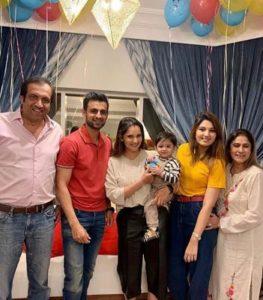 Shoaib malik with his family