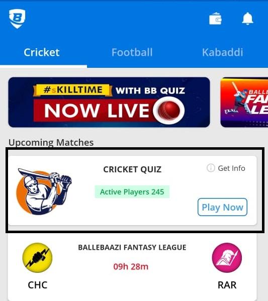 ballbaazi cricket quiz