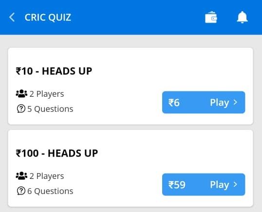 ballebaazi cric quiz choose