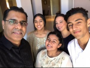 Waqar Younis with his family