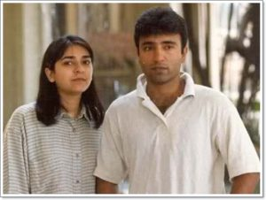 Saeed Anwar with his wife