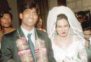 Mohammad Yousuf with his wife