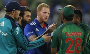 Ben Stokes and Tamim Iqbal involved in shoulder barging fight