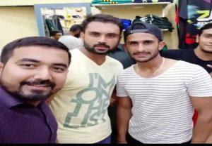 Taimoor Mirza with Pakistani Cricketer Hasan Ali